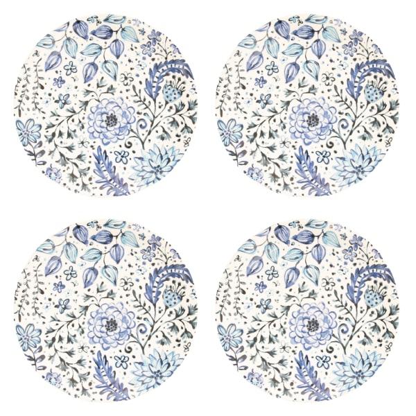 Pier 1 Blue Floral Dinner Plates, Set of 4