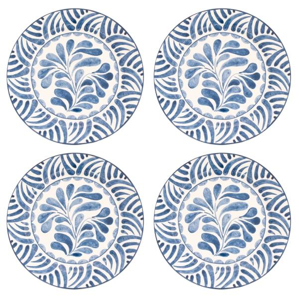 Pier 1 Blue Fleur Dinner Plates, Set of 4