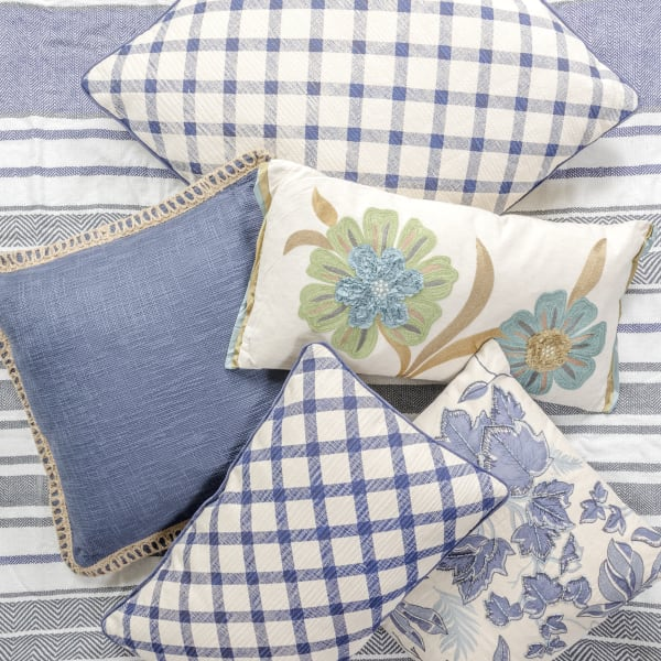Pier 1 Blue Embroidered Leaves Pillow