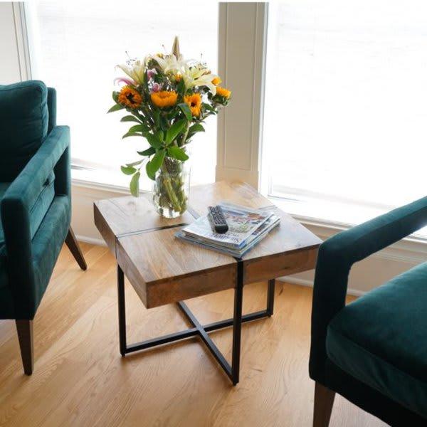 Posh Pollen Zara Square Reclaimed Wood Side Table