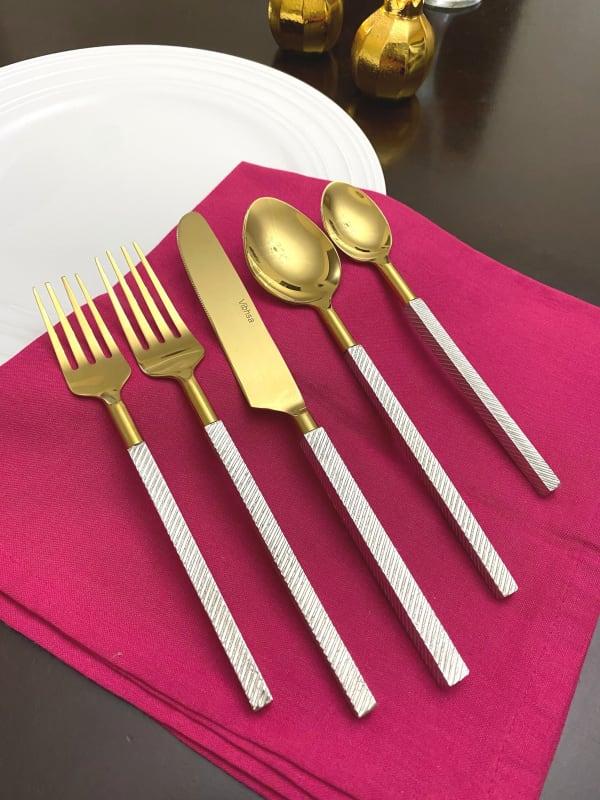 Designer Gold 5 Piece Place Setting Flatware