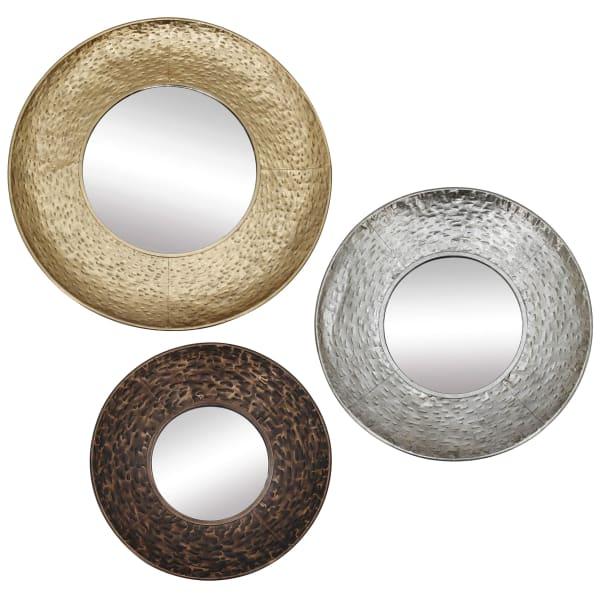 Regina Set of 3 Metallic Finish Mirrors