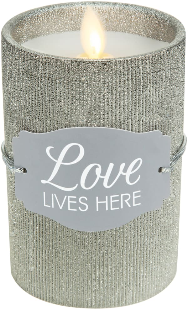 Love - Pewter Glitter Realistic Flame Candle
