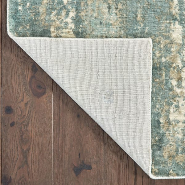 Blue and Gray Abstract Splash Runner Rug