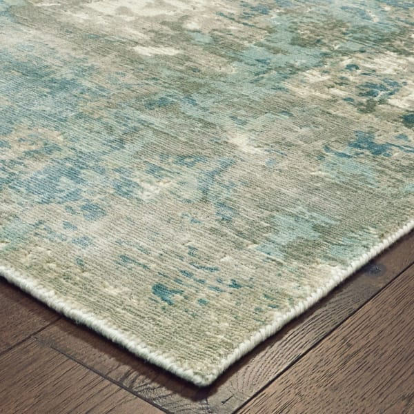Blue and Gray Abstract Pattern Runner Rug