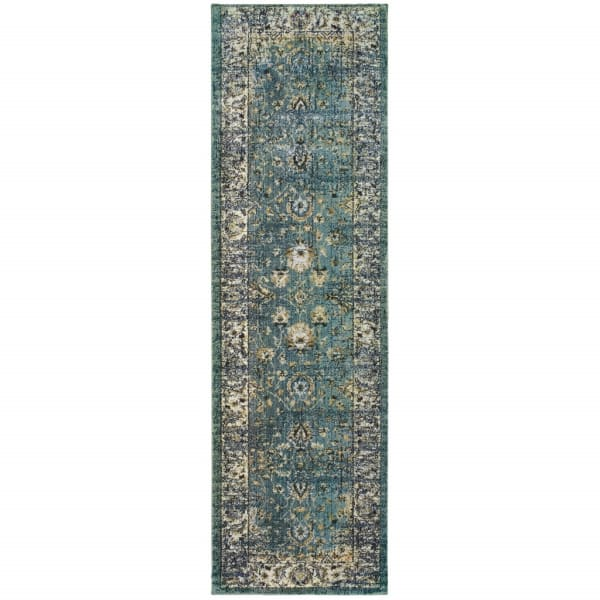 Peacock Blue and Ivory Indoor Runner Rug