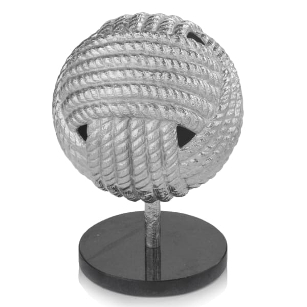 Rough Silver Black Rope Ball Sculpture
