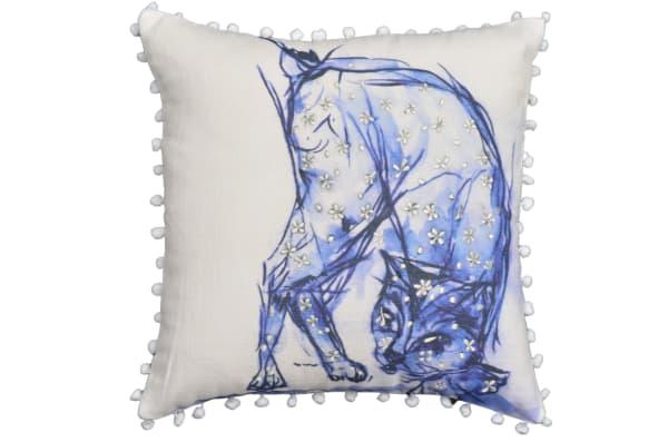 Cat Blue Decorative Pillow