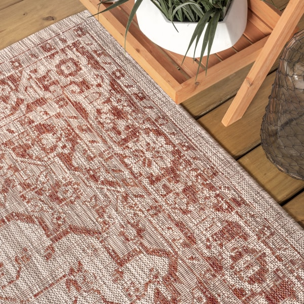 Rozetta Boho Medallion Textu Weave Red and Taupe Outdoor Runner Rug