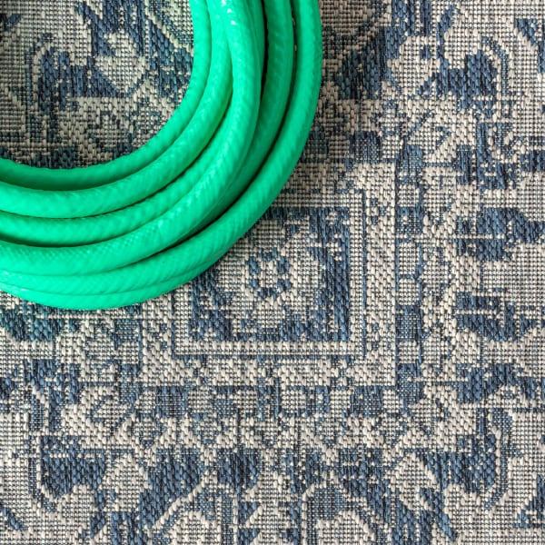 Estrella Bohemian Medallion Textu Weave Blue and Gray Outdoor Runner Rug
