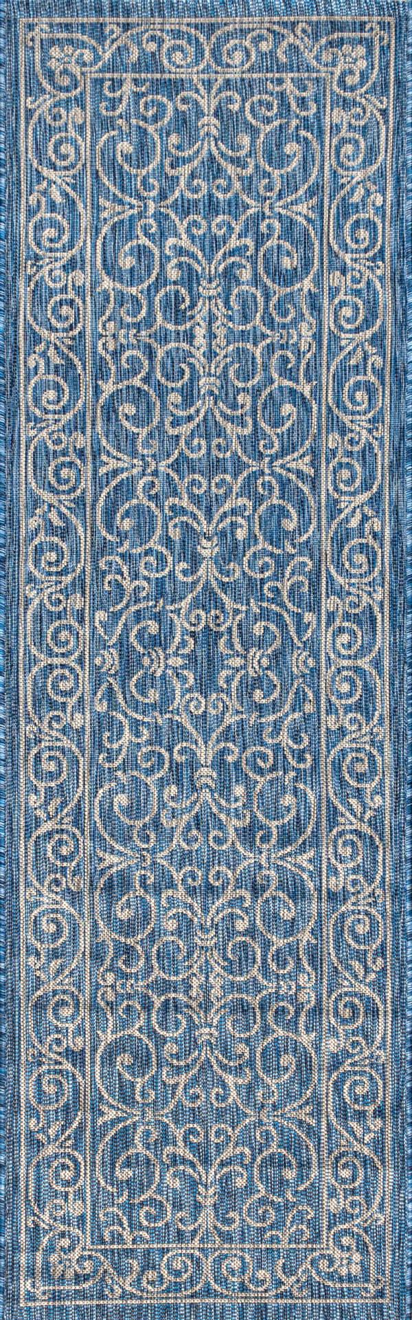Charleston Vintage Filigree Textu Weave Blue and Gray Outdoor Runner Rug