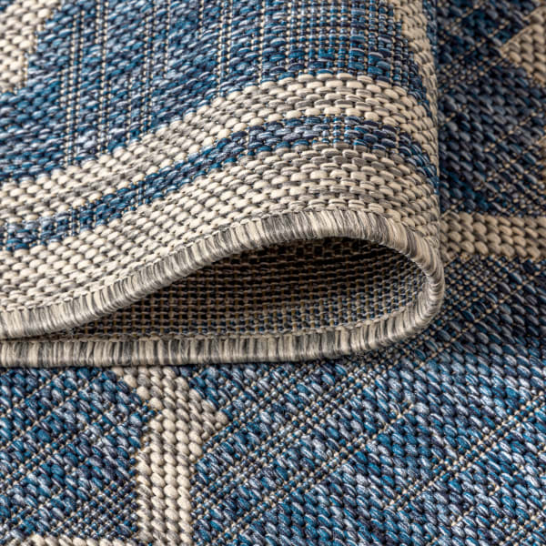 Trebol Moroccan Trellis Textu Weave Blue and Gray Outdoor Runner Rug