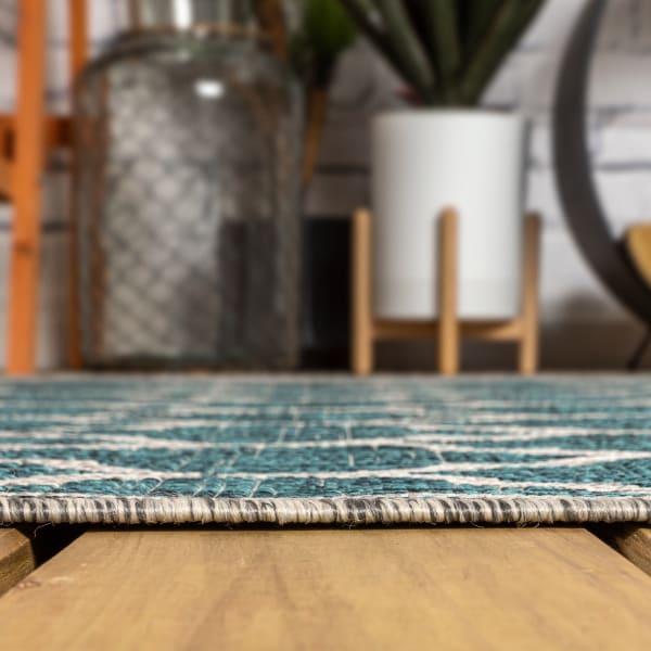 Trebol Moroccan Trellis Textu Weave Teal and Gray Outdoor Runner Rug