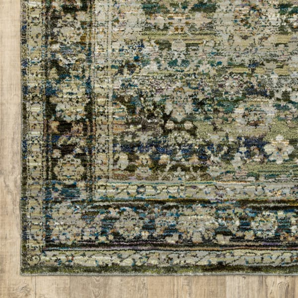 Round Green and Brown Floral Area Rug