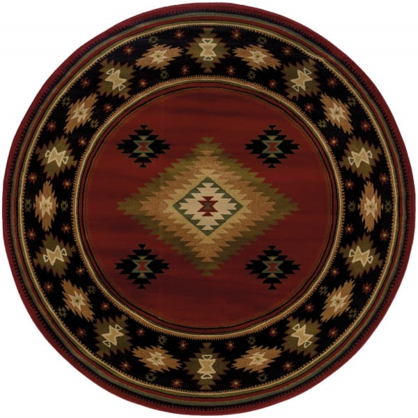 Round Red and Beige Ikat Pattern Area Rug