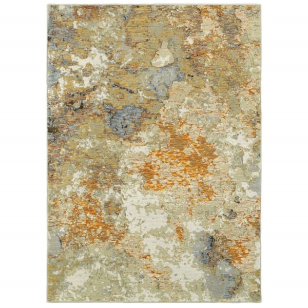 Modern Abstract Gold and Beige Scatter Rug