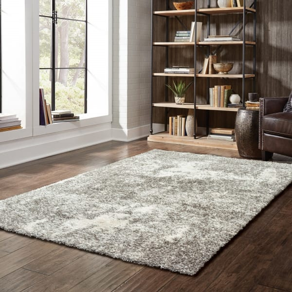 Gray and Ivory Distressed Abstract Scatter Rug