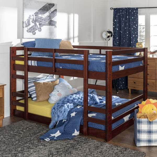 Transitional Espresso Low Wood Twin Bunk Bed