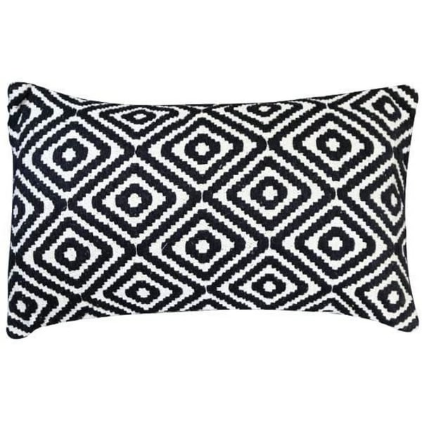Jacquard Print Cotton Black and White Accent Pillow Cover