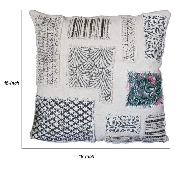 Block Print White and Black Accent Pillow Cover