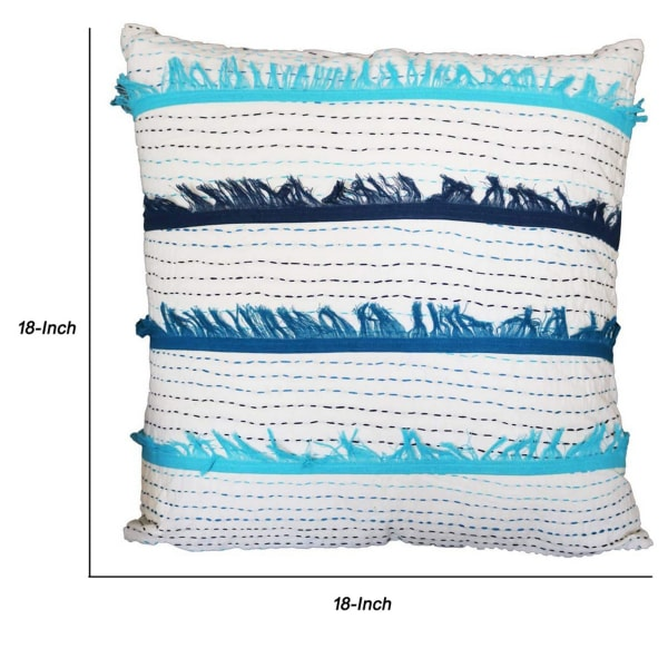 Hand Embroidered White and Blue Accent Pillow Cover