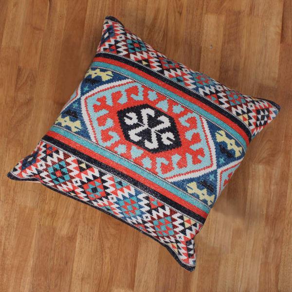 Handwoven Kilim Print Cotton Multicolor Accent Pillow