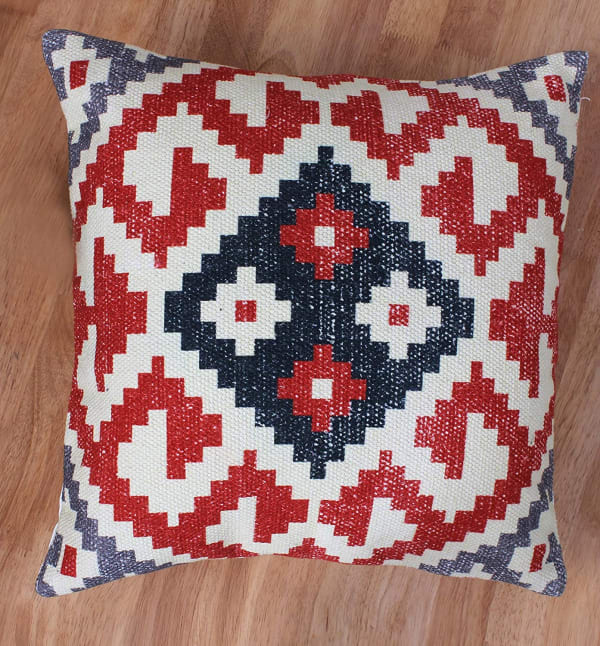 Vintage Kilim Print Cotton Red and White Accent Pillow