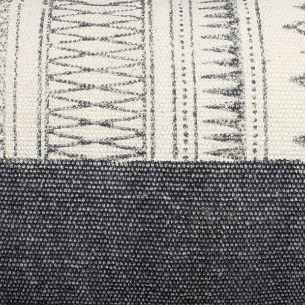 Block Printed Handwoven Cotton Gray and White Accent Pillow