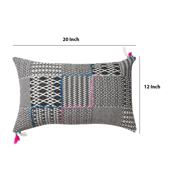 Handwoven Jacquard Print  Cotton Black and Gray Accent Pillow