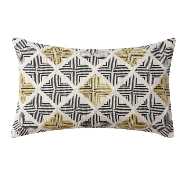 Handwoven Jacquard Print Cotton Multicolor Accent Pillow