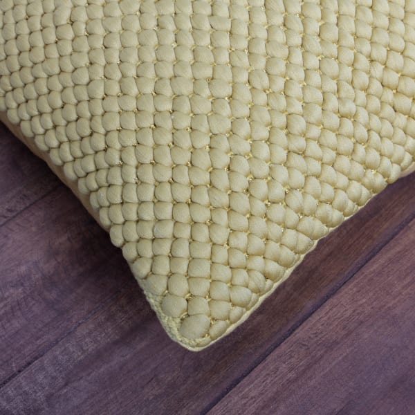 Textured Handwoven Cotton Off White Accent Pillow