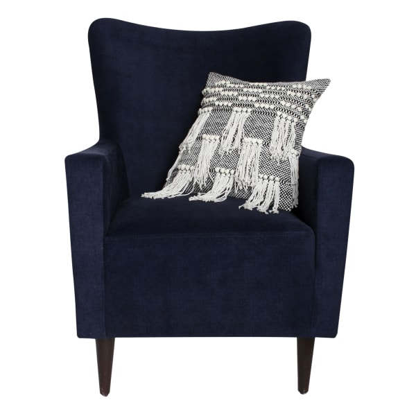 Textured  with Fringe Details Cotton White and Black Accent Pillow