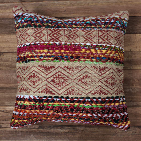 Handwoven Block Print Jute Brown and Red Accent Pillow