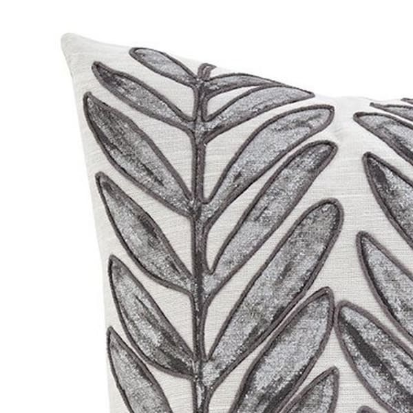 Leaf Print Cotton White and Gray Set of 4 Accent Pillows