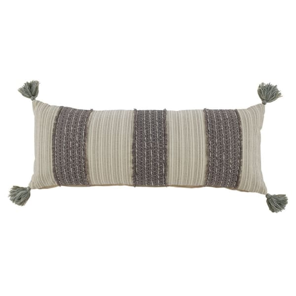 Trimmed Fringe Details Cotton Gray and Cream Set of 4 Accent Pillows