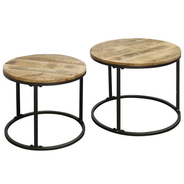 Logan Wood and Black Finish Set of 2 Nesting Tables