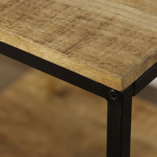 Logan Wood and Black Finish Accent Side Table