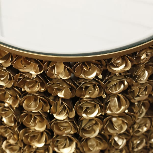 Galaxia Gold Finish Rose Accent Side Table