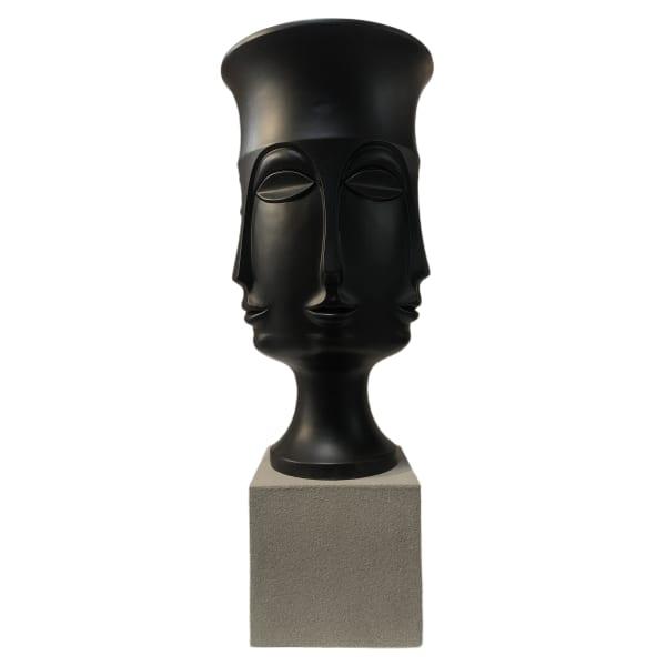 Assisi Matte Black Finish Resin Medium Floor Vase