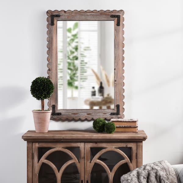 Jasper Farmhouse White Washed Mirror