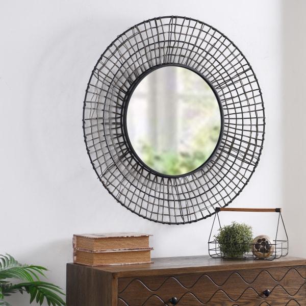 Elana Black and Gray Rattan Wall Mirror