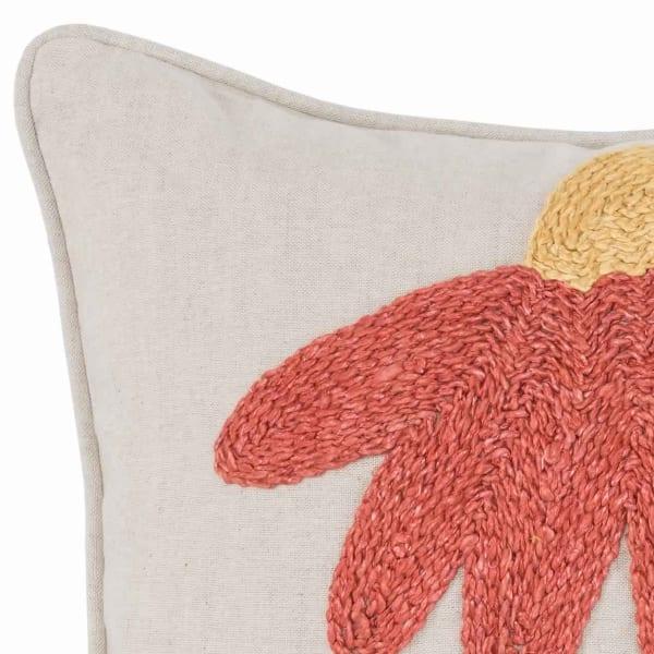 Orange & Green Handwoven Floral Pattern Throw Pillow