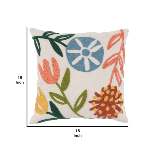 Handwoven Floral Pattern Throw Pillow