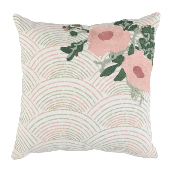 Pink with Woven Floral Pattern Throw Pillow