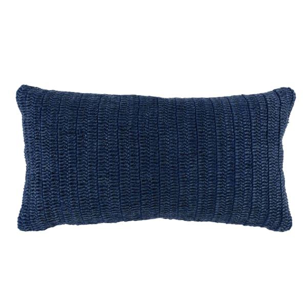 Blue Hand Knit Lumbar Pillow