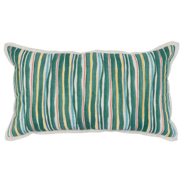 Painted Stripes Pattern and Embroidery Fabric Green Throw Pillow