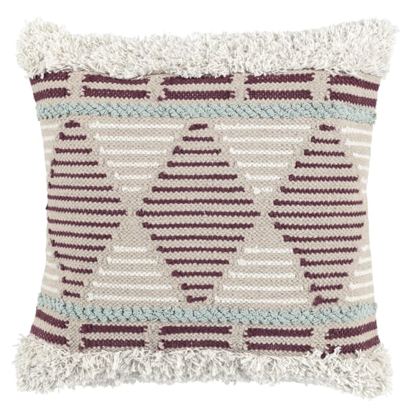 Handwoven Geometric Pattern Fabric Beige and Red Throw Pillow
