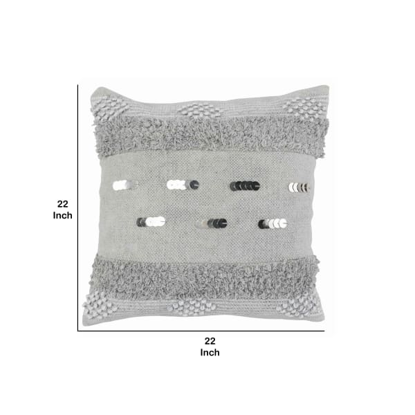 Fringes and Sequins Embellishments Textured Fabric Gray Throw Pillow