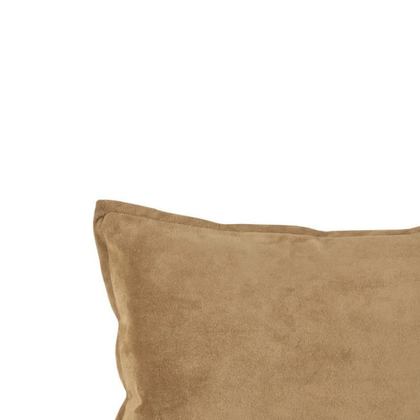 Flanged Edges Leatherette Rectangular Brown Throw Pillow