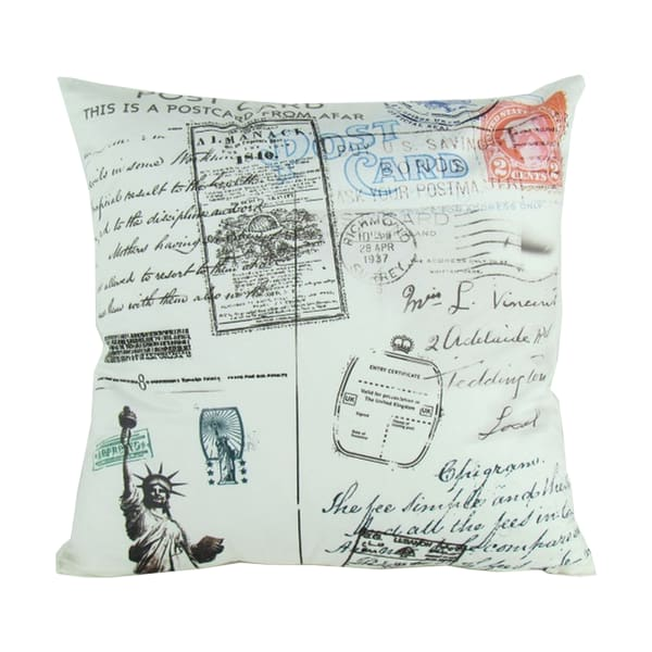 Scripted Details Fabric White Decorative Pillow